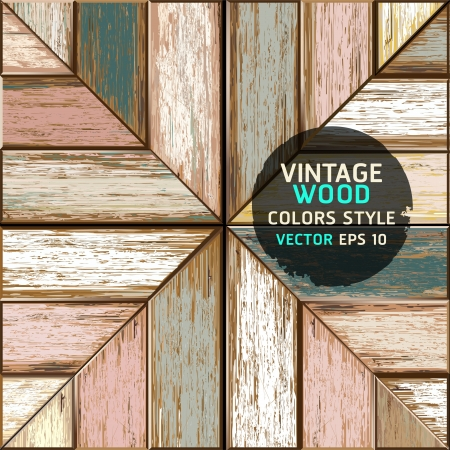 Wooden vintage color texture background  illustration  Vector