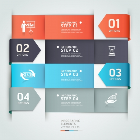 set template: Abstract arrow business infographics template  illustration  can be used for workflow layout, diagram, number options, step up options, banner, web design Illustration