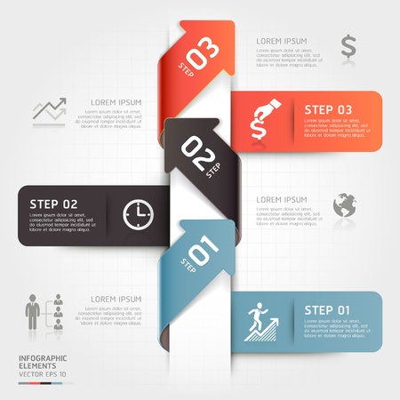 information technology icons: Modern business arrow origami style step up options illustration  can be used for workflow layout, diagram, number options, web design, infographics