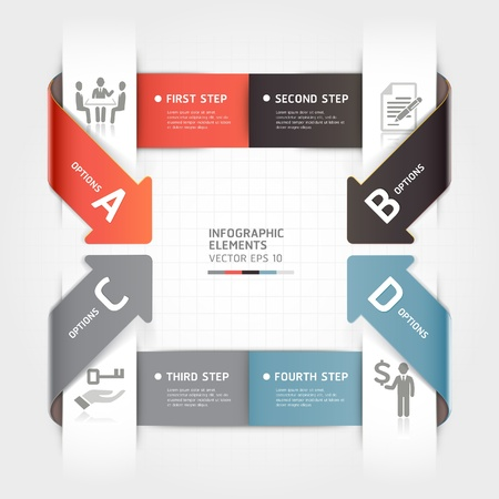 Abstract arrow business infographics template  illustration  can be used for workflow layout, diagram, number options, step up options, banner, web design Stock Vector - 19489967