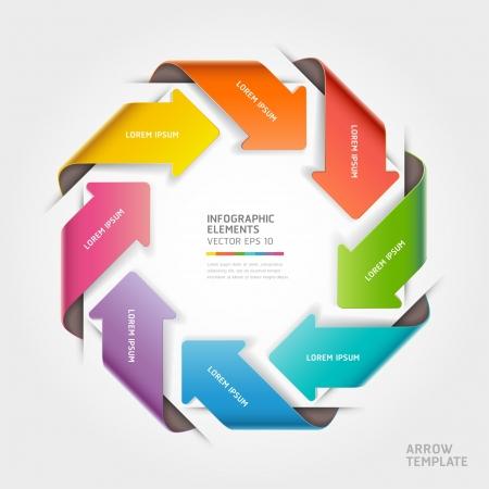flecha direccion: Flecha abstracta infograf�a ilustraci�n plantilla se puede utilizar para el dise�o del flujo de trabajo, diagrama, c�digo opciones, las opciones de paso de negocio, bandera, dise�o de p�ginas web