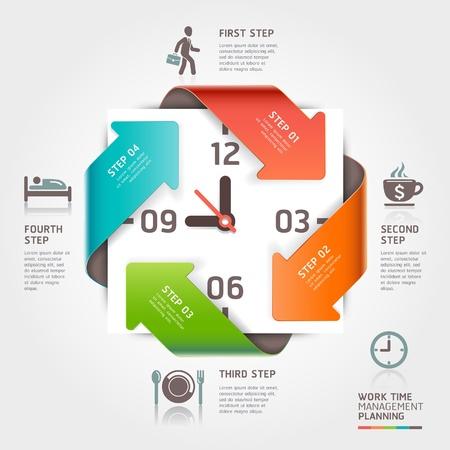 zeitarbeit: Abstrakt Pfeil Arbeit Zeitmanagement Planung Infografiken Vorlage Vektor-Illustration f�r Workflow-Layout, Grafik, Anzahl Optionen, step up Optionen, Banner, Web-Design verwendet werden