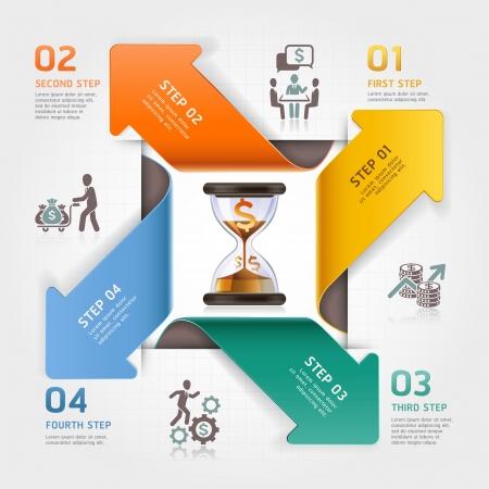 sand clock: Flecha abstracta reloj de arena concepto de negocio de gesti�n de la planificaci�n infograf�a plantilla Ilustraci�n vectorial se puede utilizar para el dise�o del flujo de trabajo, diagrama, opciones num�ricas, incrementar las opciones, bandera, dise�o de p�ginas web