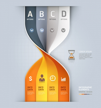 time money: Modern sand clock spiral infographics options banner  Vector illustration  can be used for workflow layout, diagram, number options, web design
