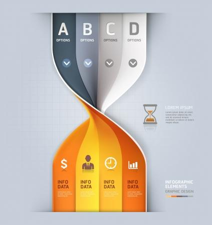 sand clock: Moderno orologio di sabbia spirale infografica opzioni banner illustrazione vettoriale pu� essere utilizzata per il layout del flusso di lavoro, diagramma, opzioni di numero, web design Vettoriali