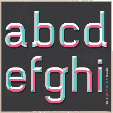 Alphabet retro colour style  Vector illustration  Vector
