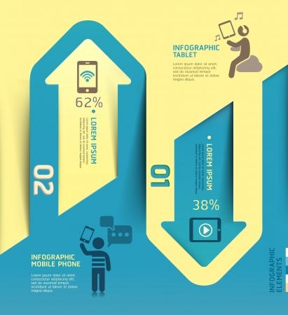diagrama: Infografía flecha tecnología de la comunicación Ilustración de la plantilla se puede utilizar para el diseño del flujo de trabajo, diagrama de negocios, código opciones, las opciones de paso de negocio, bandera, diseño de páginas web
