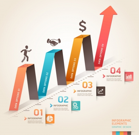 Modern business infographics origami arrow template   illustration  can be used for workflow layout, diagram, number options, business step options, banner, web design  Çizim