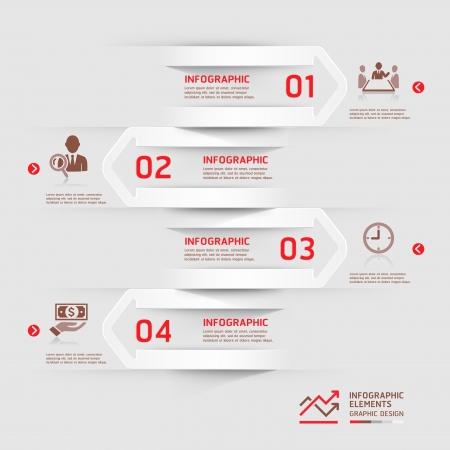 モダンなビジネス infographics 紙カット矢印の背景。イラスト。ワークフローのレイアウト、図、番号のオプション、ビジネス ステップ オプション、