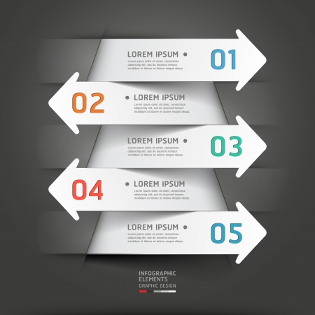 Modern paper cut arrow background.  illustration. can be used for workflow layout, diagram, number options, business step options, banner, web design, infographics. Illustration