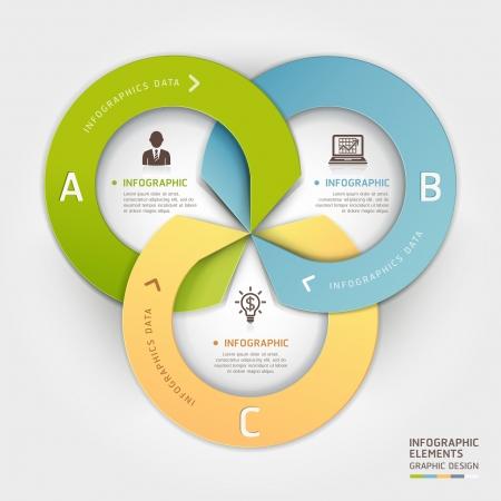 Astratto business cerchio origami stile opzioni banner. illustrazione. può essere utilizzato per il layout del flusso di lavoro, diagramma, opzioni di numero, intensificare le opzioni, web design, infografica. Vettoriali