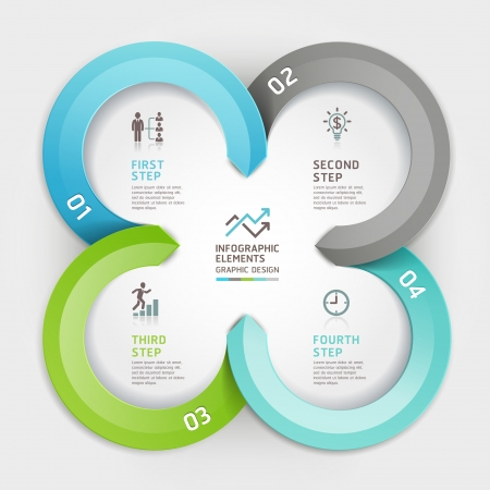 step up: Modern business circle origami style options banner.  illustration. can be used for workflow layout, diagram, number options, step up options, web design, infographics. Illustration