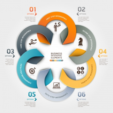 layout: Modern business circle origami style options banner. illustration. can be used for workflow layout, diagram, number options, step up options, web design, infographics. Illustration