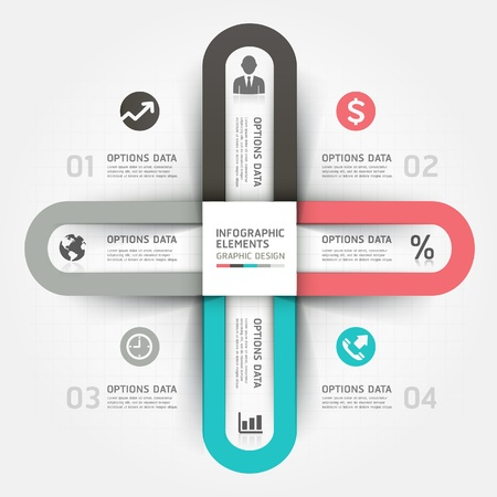 infographics: Modern business circle origami style options banner.  illustration. can be used for workflow layout, diagram, number options, step up options, web design, infographics. Illustration