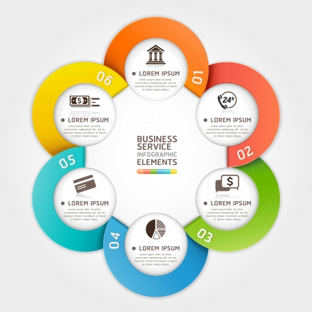 Modern business service circle origami style.  illustration. can be used for workflow layout, diagram, number options, banner, step up options, web design, infographics. Vector
