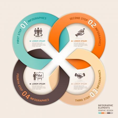 empleos: Modern flecha círculo de negocios servicio de estilo origami. ilustración. se puede utilizar para el diseño del flujo de trabajo, diagrama, opciones numéricas, bandera, incrementar las opciones, diseño web, infografía. Vectores