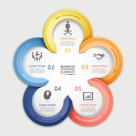 Modern arrow infographics business circle element origami style.  illustration. can be used for workflow layout, diagram, number options, step up options, web design, infographics.