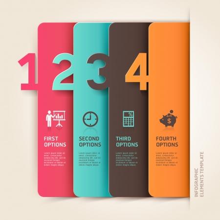 モダンなビジネス infographics 番号オプション テンプレートです。イラスト。ワークフローのレイアウト、図、ビジネス ステップ オプション、バナー