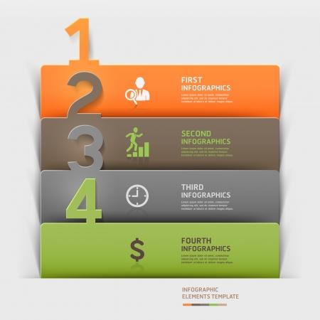 pesta�as: Las empresas modernas infograf�as n�mero de recortes de papel ilustraci�n de plantilla se puede utilizar para el dise�o del flujo de trabajo, diagrama, opciones de paso de negocio, bandera, dise�o de p�ginas web