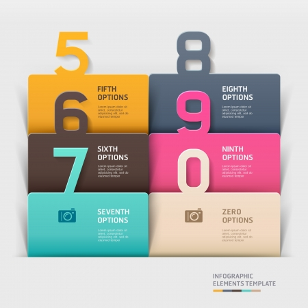 numbers icon: Modern paper cut template illustration  can be used for workflow layout, diagram, business step options, banner, web design, number layout, infographics element Illustration