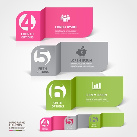 Modern business paper cut infographics number template  illustration  can be used for workflow layout, diagram, business step options, banner, web design  Ilustração