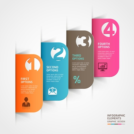 Abstract business paper cut infographics number template  illustration  can be used for workflow layout, diagram, business step options, banner, web design  Vector