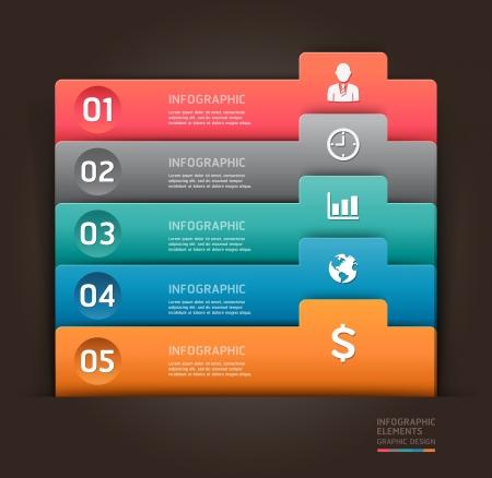 pesta�as: Infograf�a moderna elemento n�mero ilustraci�n plantilla se puede utilizar para el dise�o del flujo de trabajo, diagrama, las opciones de paso de negocio, bandera, dise�o de p�ginas web