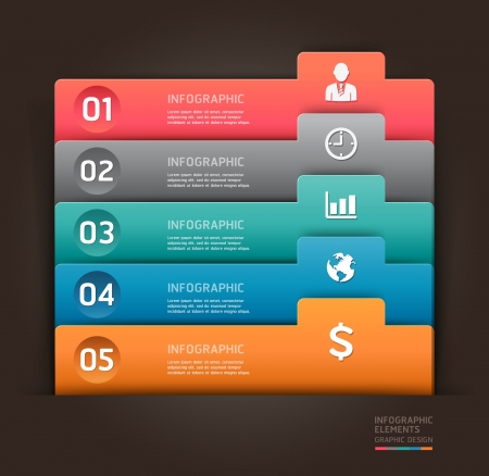Modern infographics element number template  illustration  can be used for workflow layout, diagram, business step options, banner, web design  Ilustração