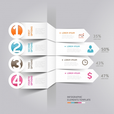Modern arrow infographics element origami style   illustration  can be used for workflow layout, diagram, number options, step up options, web design  Иллюстрация