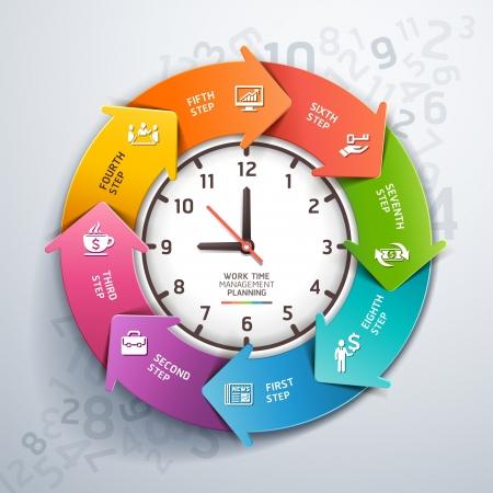 Modern flecha trabajo a tiempo gerencia planeamiento infografía ilustración plantilla se puede utilizar para el diseño del flujo de trabajo, diagrama, opciones numéricas, intensificar opciones, bandera, diseño de páginas web Ilustración de vector