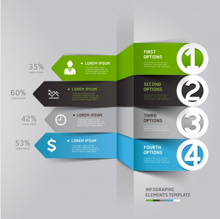infographics: Modern arrow infographics element origami style   illustration  can be used for workflow layout, diagram, number options, step up options, web design  Illustration
