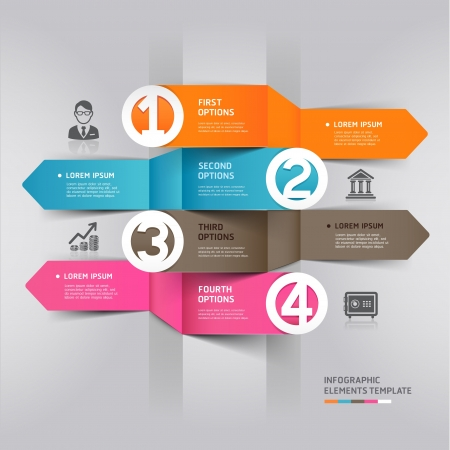 a bank employee: Abstract arrow infographics element origami style illustration  can be used for workflow layout, diagram, number options, step up options, web design