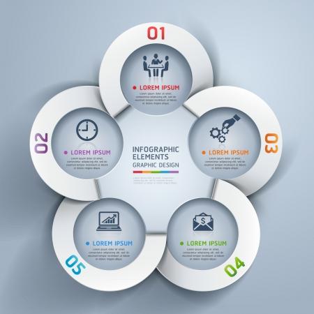 Abstract zakelijke cirkel origami stijl opties bannerillustratie kan gebruikt worden voor workflow layout, diagram, het aantal opties, opvoeren opties, webdesign, infographics