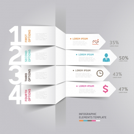 Modern flecha infografía elemento ilustración estilo origami se puede utilizar para el diseño del flujo de trabajo, diagrama, opciones numéricas, incrementar las opciones, diseño web Foto de archivo - 20859304