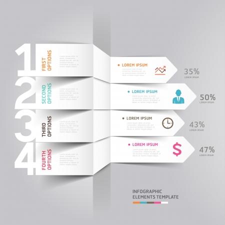 Moderne pijl infographics element origami stijl illustratie gebruikt kan worden voor workflow layout, diagram, aantal opties, opvoeren opties, webdesign Stock Illustratie