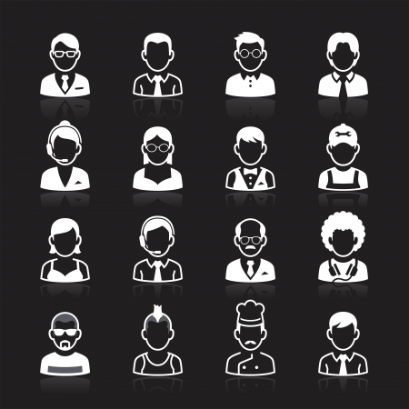 Business people avatar white icons on black background. Vector illustration Vector