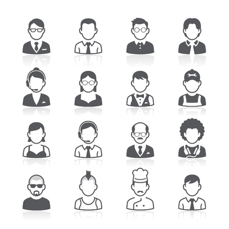 man face profile: Business people avatar icons. Vector illustration