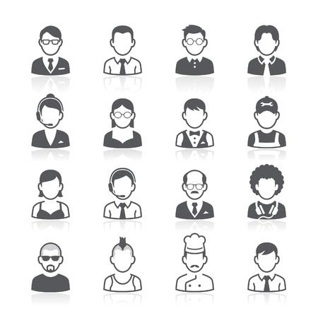 lidé: Obchodní lidé avatar ikony. Vektorové ilustrace