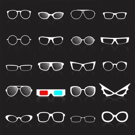glas kunst: Brilmontuur wit pictogrammen op zwarte achtergrond. Vector illustratie Stock Illustratie