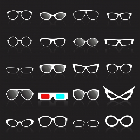 Glasses frame white icons on black background. Vector illustration