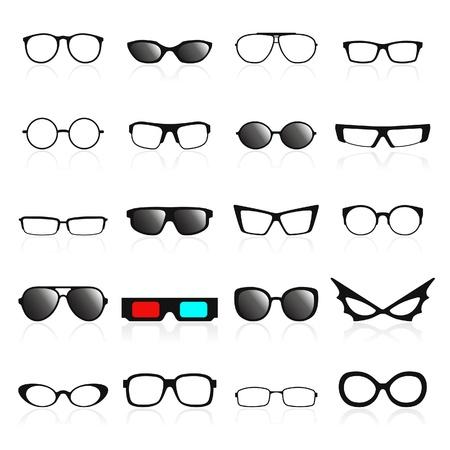 occhiali da vista: Struttura di vetro icone. Vector illustration