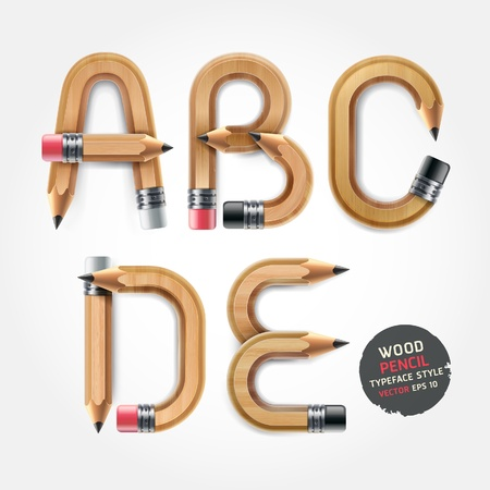 Wood pencil alphabet style. Vector illustration.