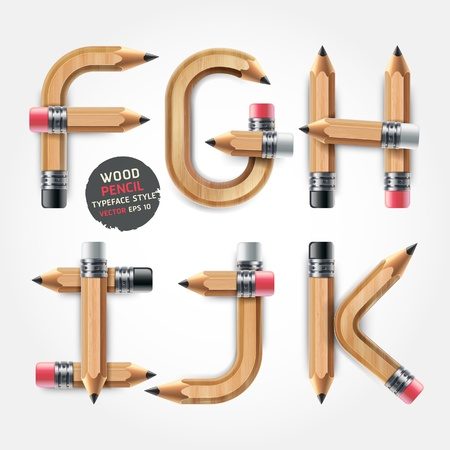 Wood pencil alphabet style. Vector illustration.