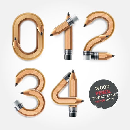 Wood pencil numbers alphabet style. Vector illustration. Vector