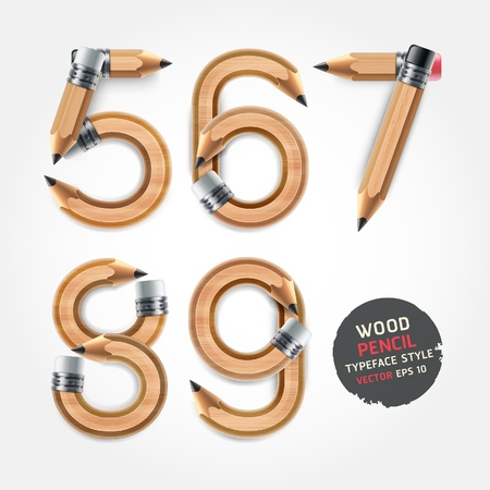 style: Wood pencil numbers alphabet style. Vector illustration.