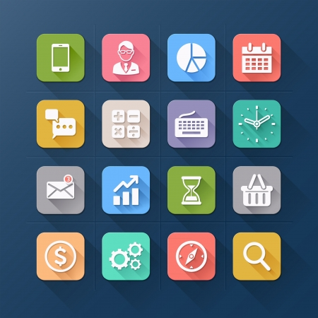 Business flat icons. Vector illustration