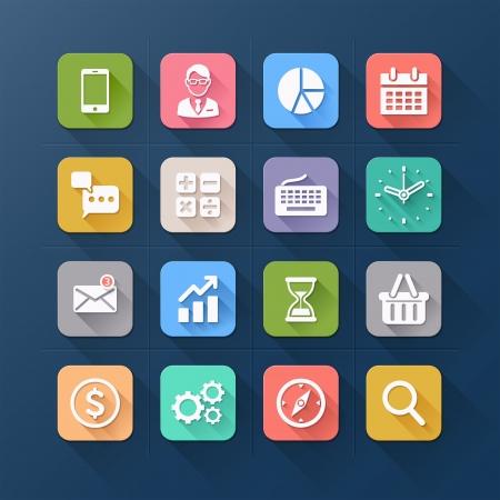 commerciali: Icone di affari piatte. Vector illustration