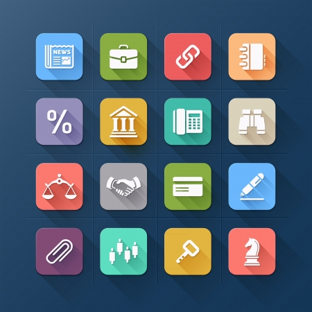 Colour flat icons for business and website design. Vector illustration