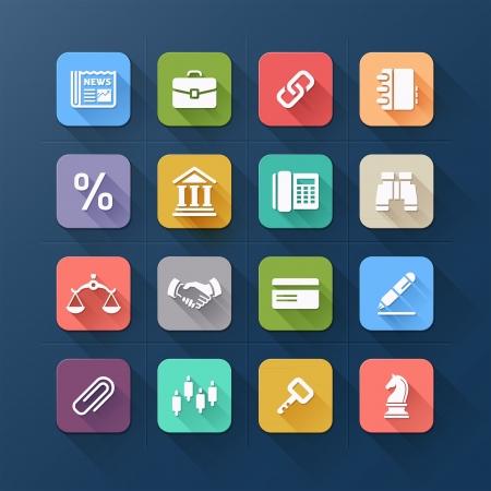 Icone piane colori per il business e progettazione di siti web. Vector illustration Archivio Fotografico - 21601580