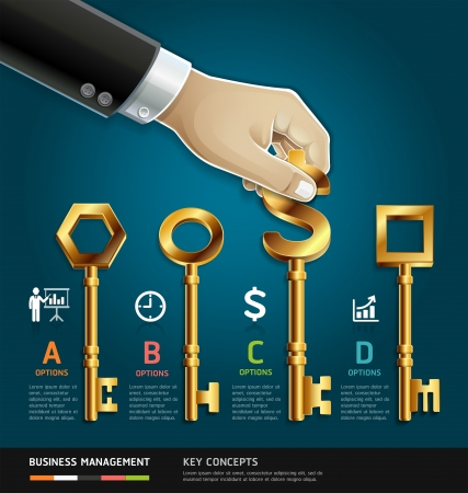 Business management diagram concept. businessman hand with key symbol. Stock Vector - 22121262